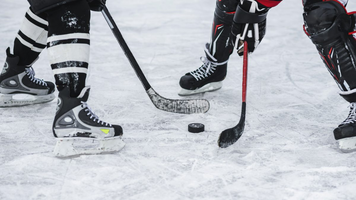 Two hockey players on the ice