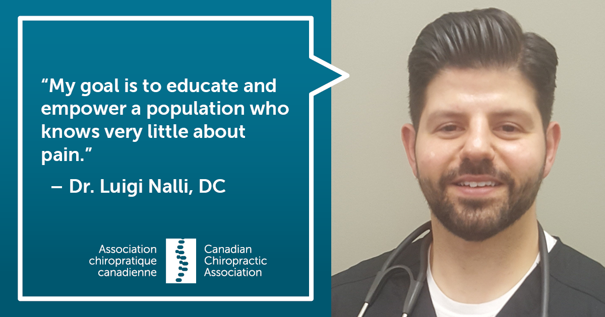 "Quote from Dr. Luigi Nalli: ""My goal is to educate and empower a population who knows very little about pain."""