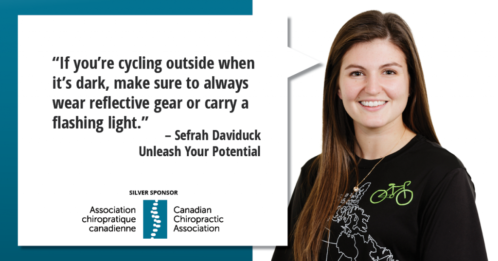 """If you're cycling outside when it's dark, make sure to always wear reflective gear or carry a flashing light."""