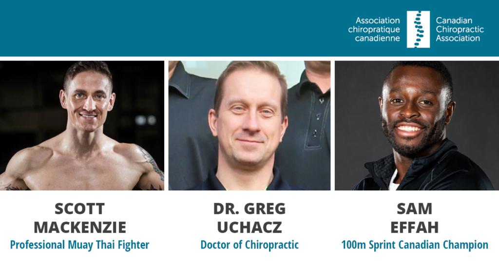 Chiropractor Dr. Greg Uchacz along with patients Sam Effah (Canadian sprinter) and Muay Thai fighter Scott McKenzie